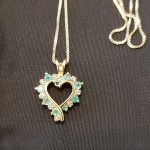 Jewelry - Emerald and Diamond-Accent Heart Necklace